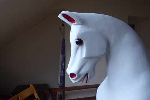 horse with paunted ears