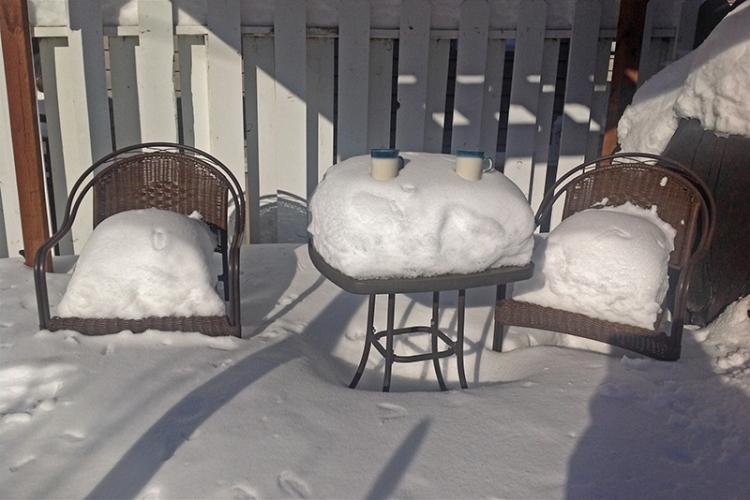 Lucie's snowy pergola
