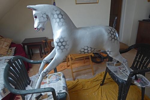 rocking horse varnished