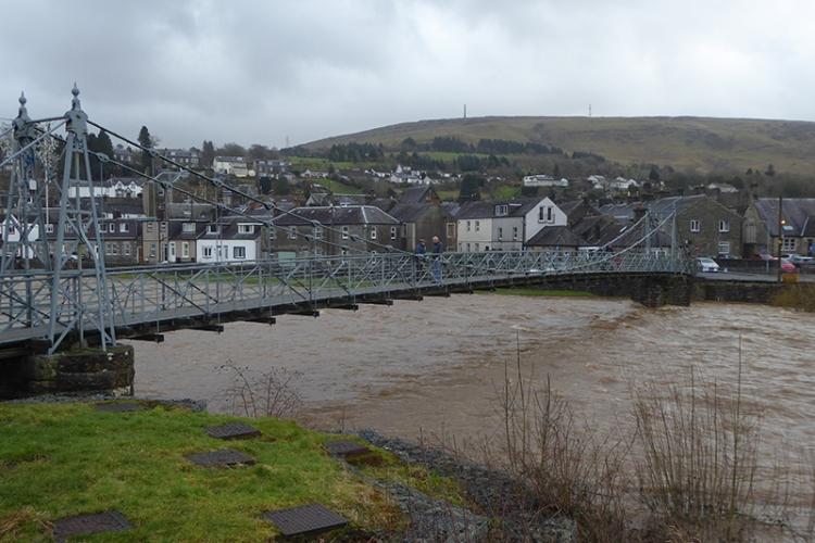 suspension bridge light flood