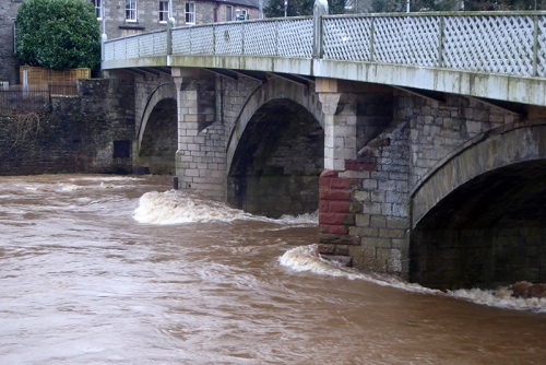 up stream town bordge in flood