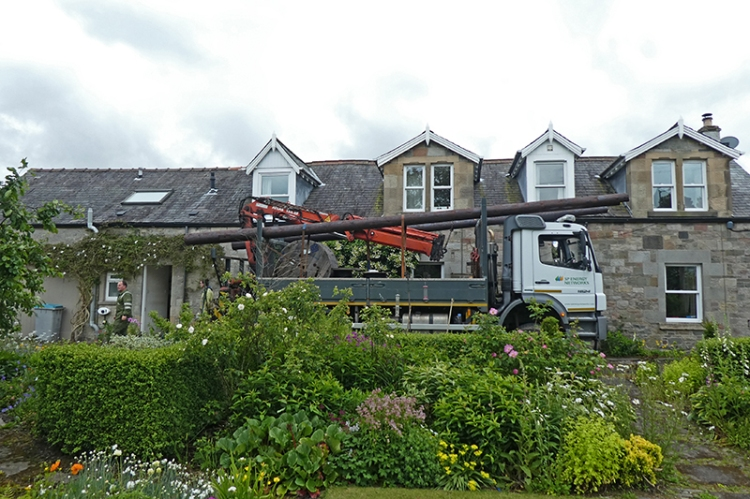 big lorry with poles