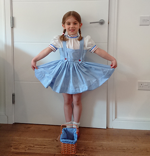 Matilda in Mrs T's dress