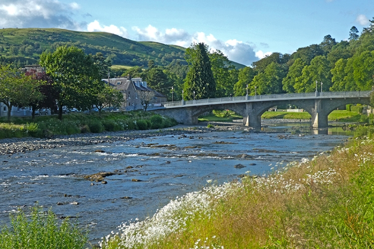 view of Langholm Bridge sunny evening
