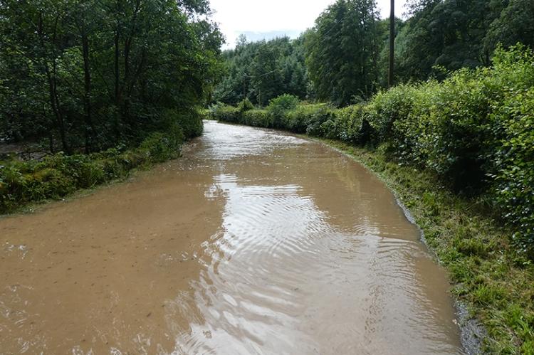 road flooded at pool corner