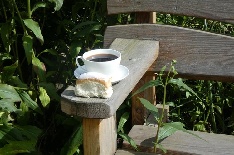 iced bun and coffee