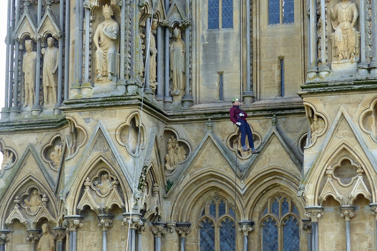 North tower of Wells Cathedral, raining some £700 for SOSAfrica