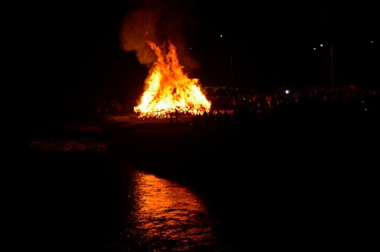 bonfire from bridge