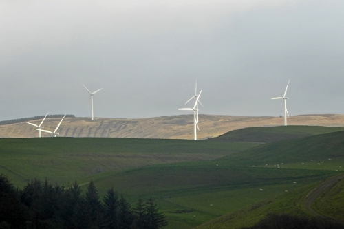 ewe hill windfarm in sun