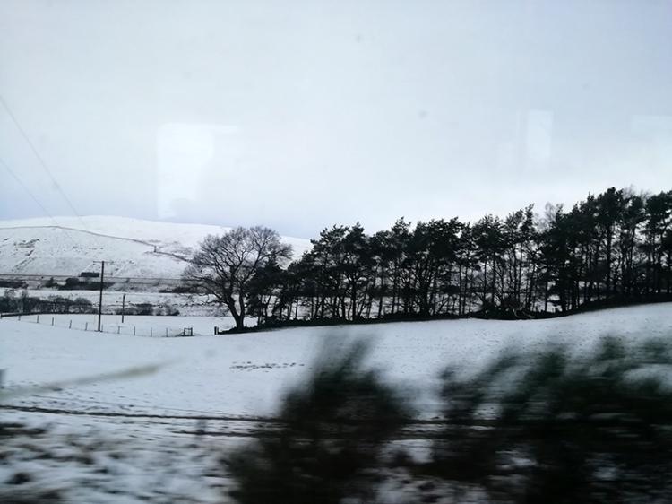 snow on train to edinburgh