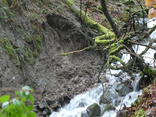 landslip at stubholm waterfall