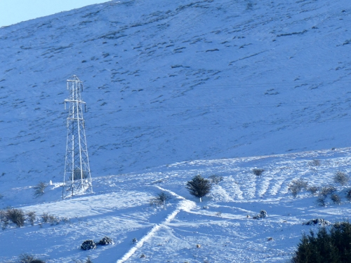 pylon in snow