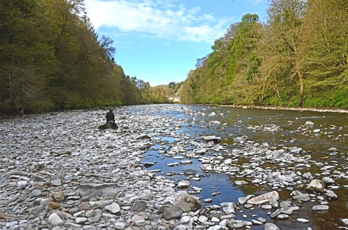 Mrs T in middle of river esk