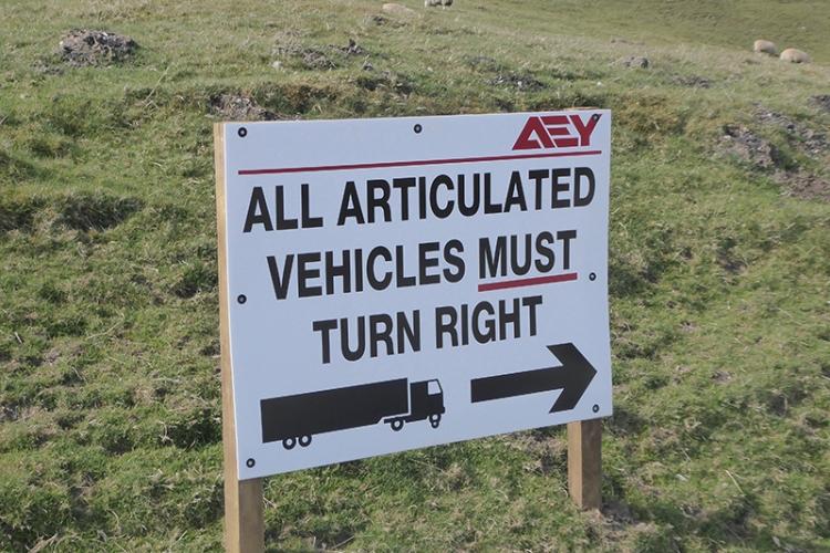 sign at crossdykes windfarm