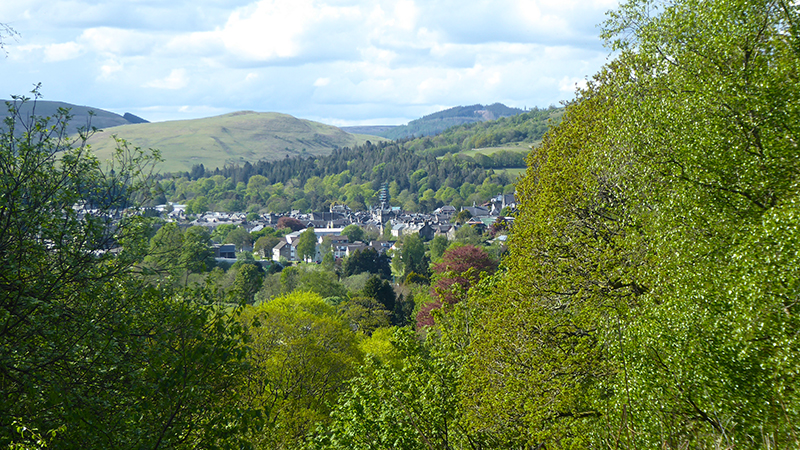 view of Langholm from round house bench